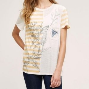 Anthropologie Postmark Embroidered Moth Striped